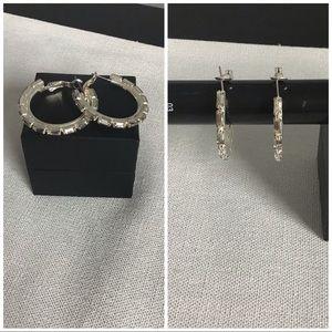 Jewelry - ✨⚡️NWOT Sterling silver and crystal hoop earrings